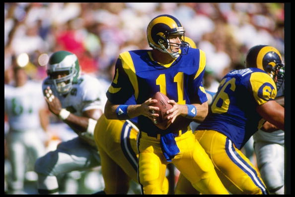 Quarterback Jim Everett of the Los Angeles Rams looks to pass the ball during a game against the Philadelphia Eagles