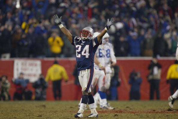 Ty Law of the New England Patriots celebrates during the AFC Championship Game.