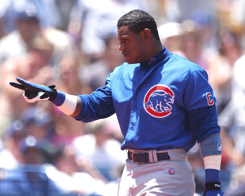 Sammy Sosa hits another home run for the Cubs.