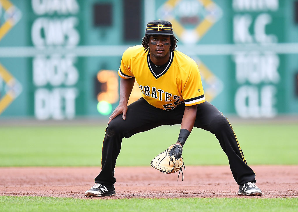 Josh Bell of the Pittsburgh Pirates plays over at first base