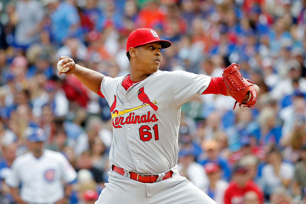 Alex Reyes of the St. Louis Cardinals follows through on a pitch