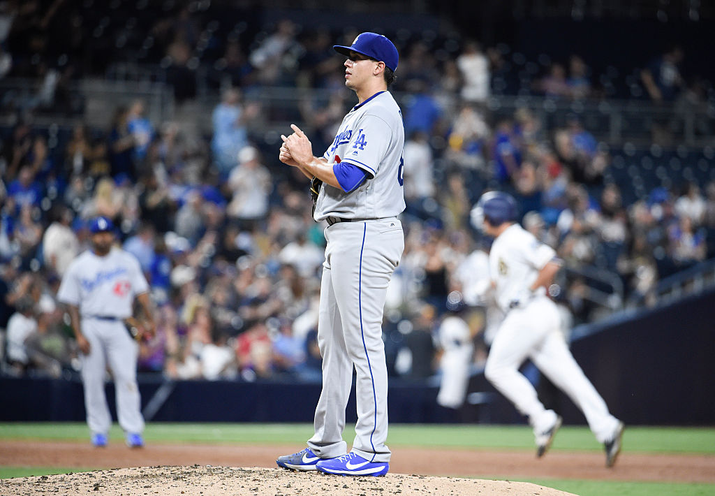 Jose De Leon of the Los Angeles Dodgers stands on the mound