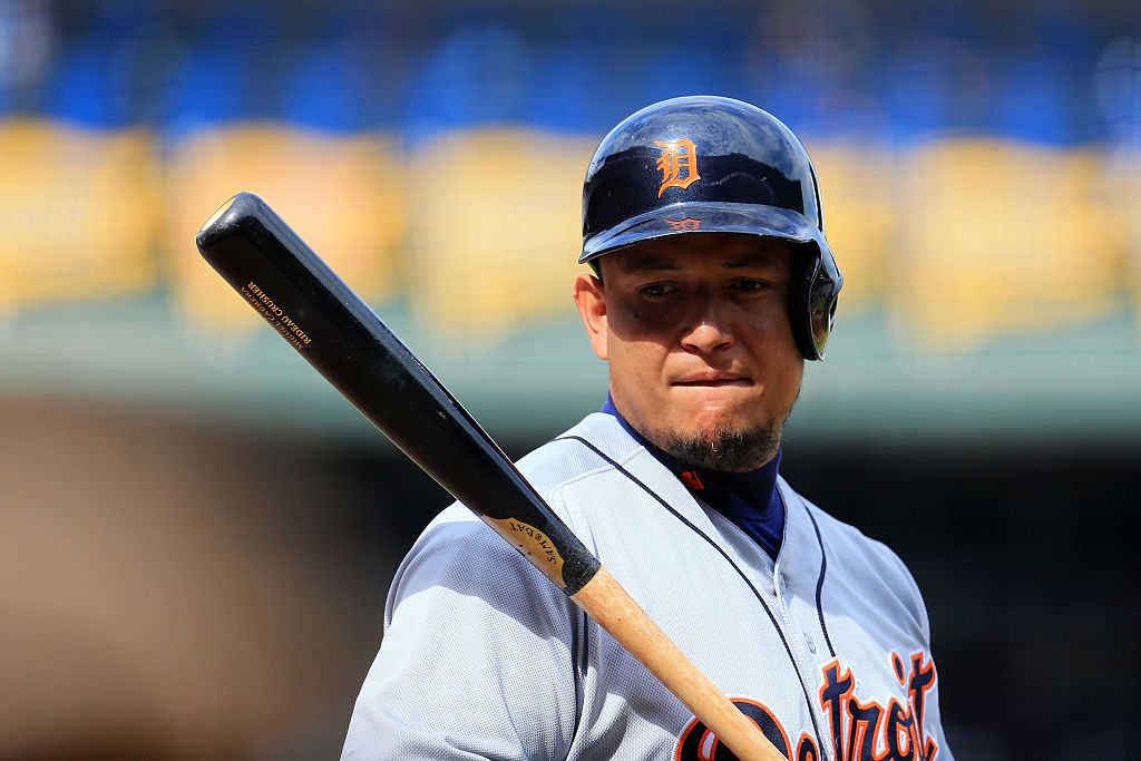 Miguel Cabrera holds the bat and waits for his turn at the plate.