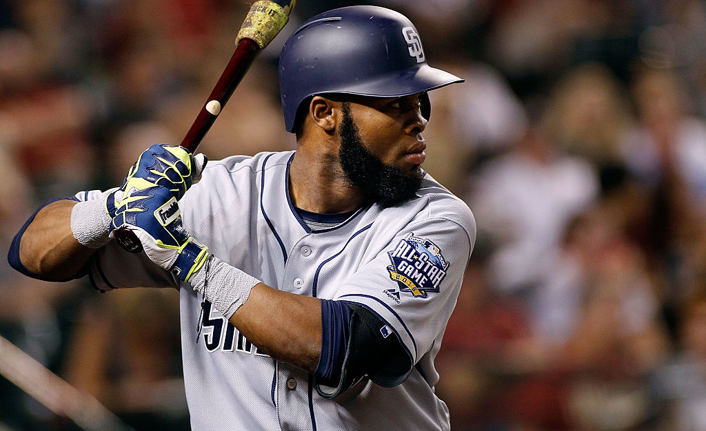 Manuel Margot of the San Diego Padres prepares to bat against the Arizona Diamondbacks.