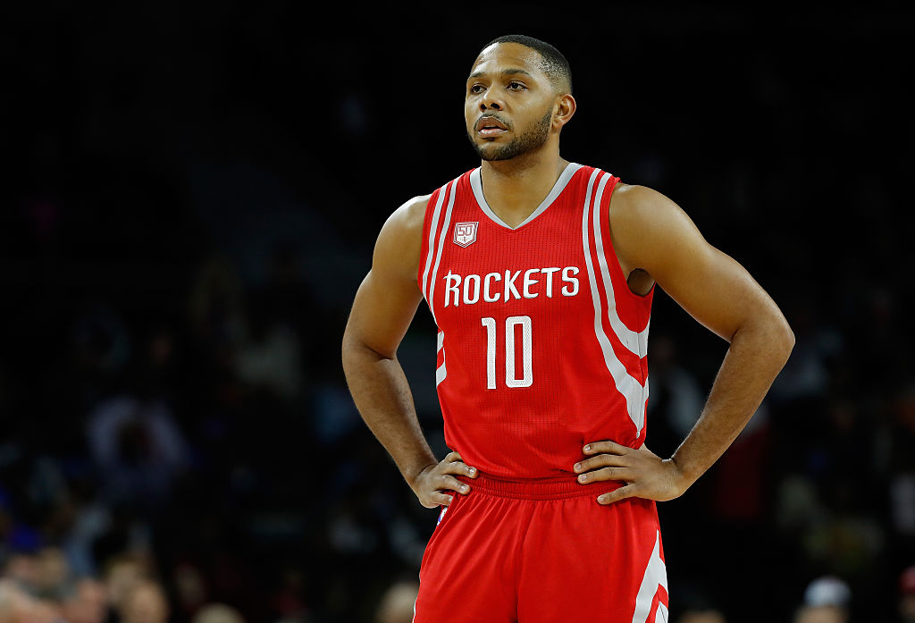 Eric Gordon of the Houston Rockets looks on while playing the Detroit Pistons.