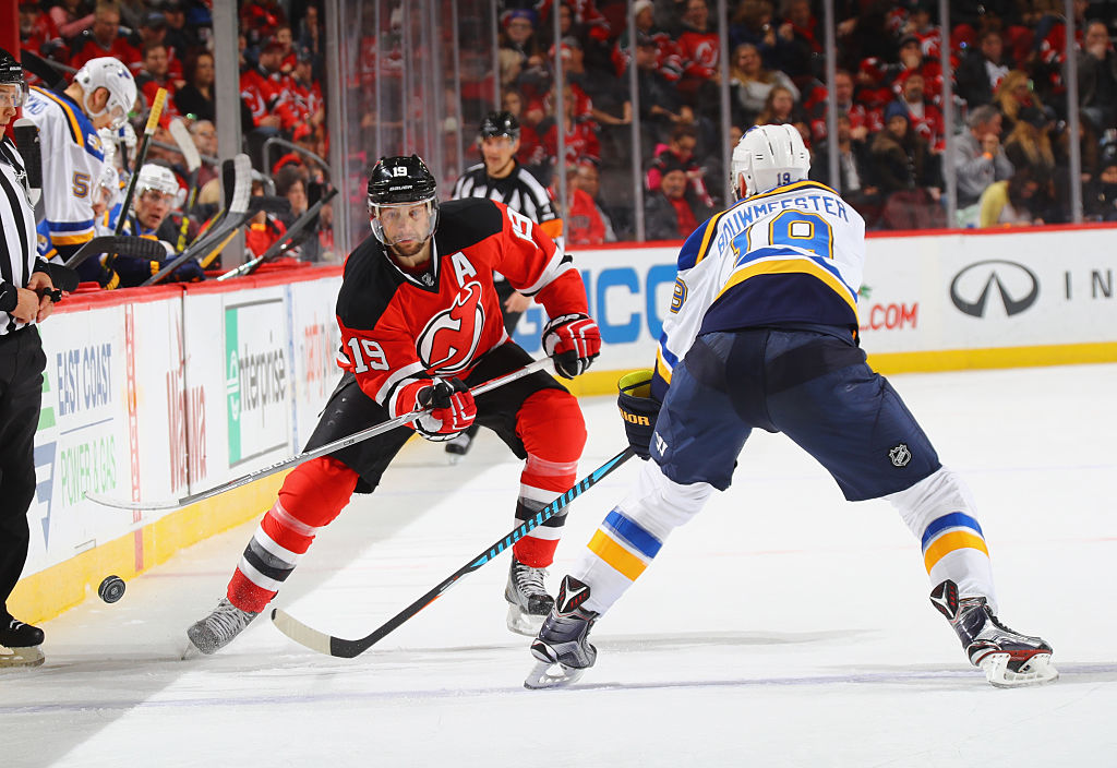 Travis Zajac of the New Jersey Devils skates against the St. Louis Blues.