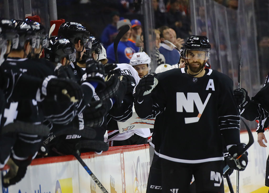 Andrew Ladd of the New York Islanders celebrates his first period goal against the Chicago Blackhawks | Bruce Bennett/Getty Images