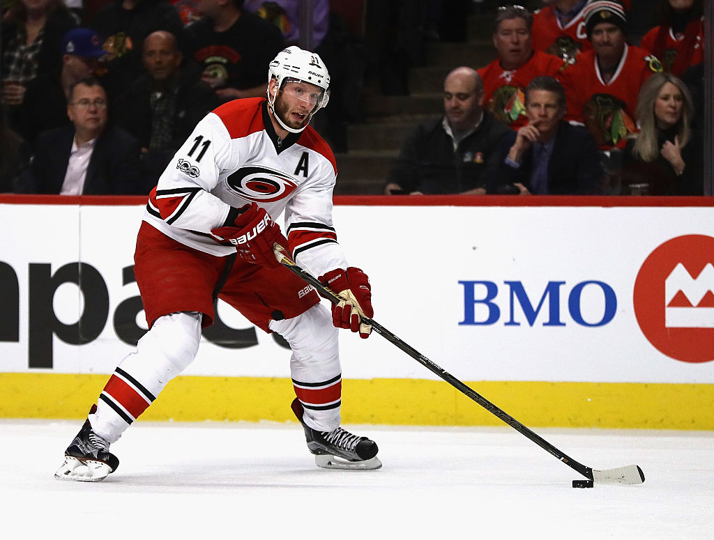 Jordan Staal of the Carolina Hurricanes controls the puck.
