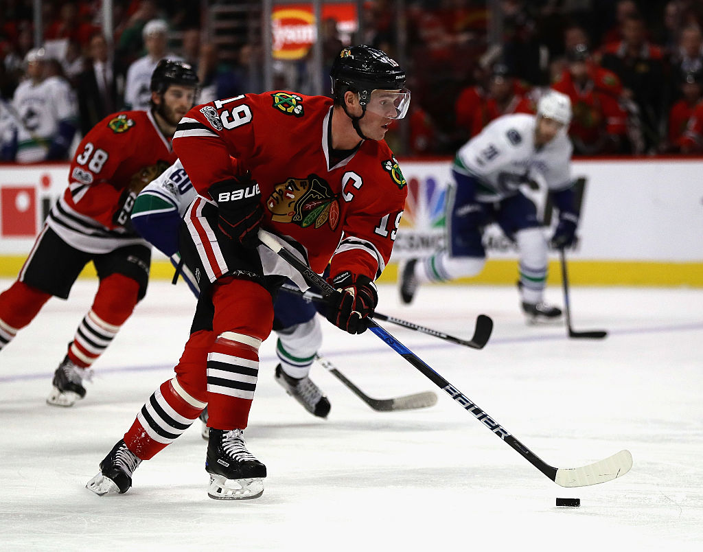 Jonathan Toews of the Chicago Blackhawks advances the puck against the Vancouver Canucks.