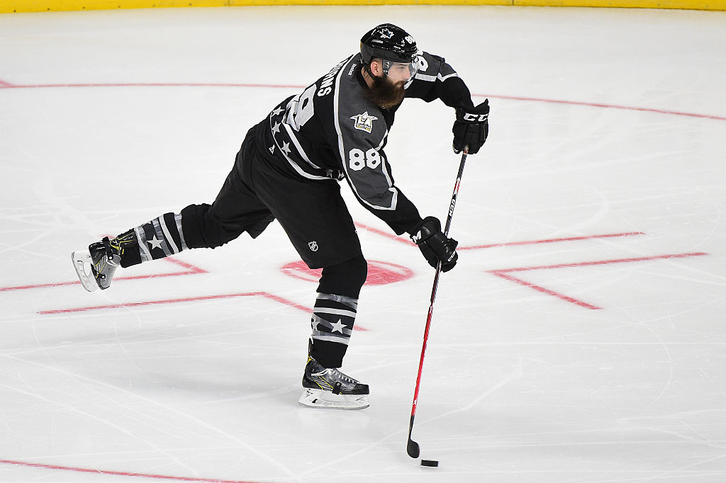 Brent Burns of the San Jose Sharks attempts a shot against the Central Division All-Stars.
