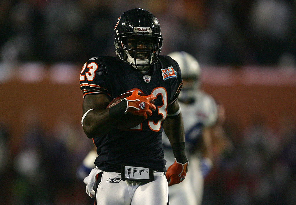 Kick returner Devin Hester of the Chicago Bears returns the opening kickoff 92-yards for a touchdown in Super Bowl XLI.