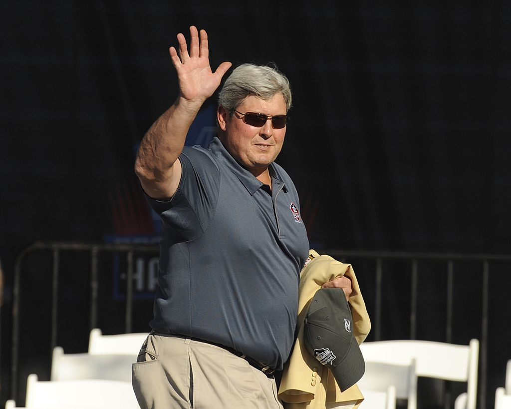 John Hannah of the New England Patriots greets fans before the Class of 2008 Pro Football Hall of Fame Enshrinement.