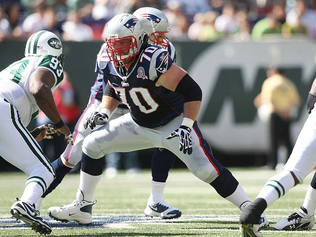 Logan Mankins of the New England Patriots faces the New York Jets.