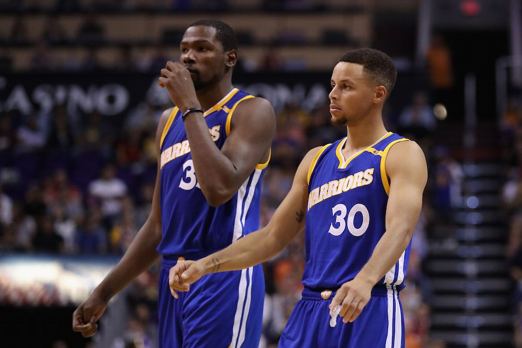 Kevin Durant and Stephen Curry look a little worried.