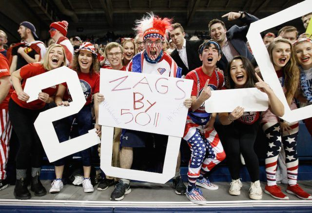 Gonzaga fans go wild at McCarthey Athletic Center.