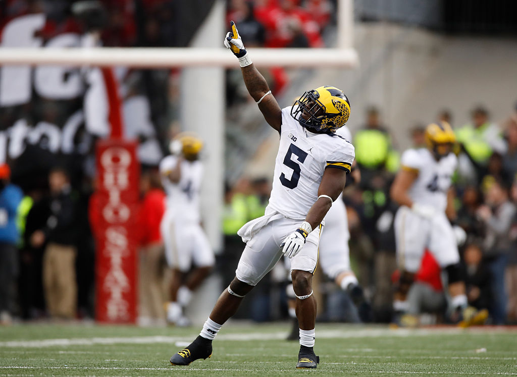 Jabrill Peppers #5 of the Michigan Wolverines