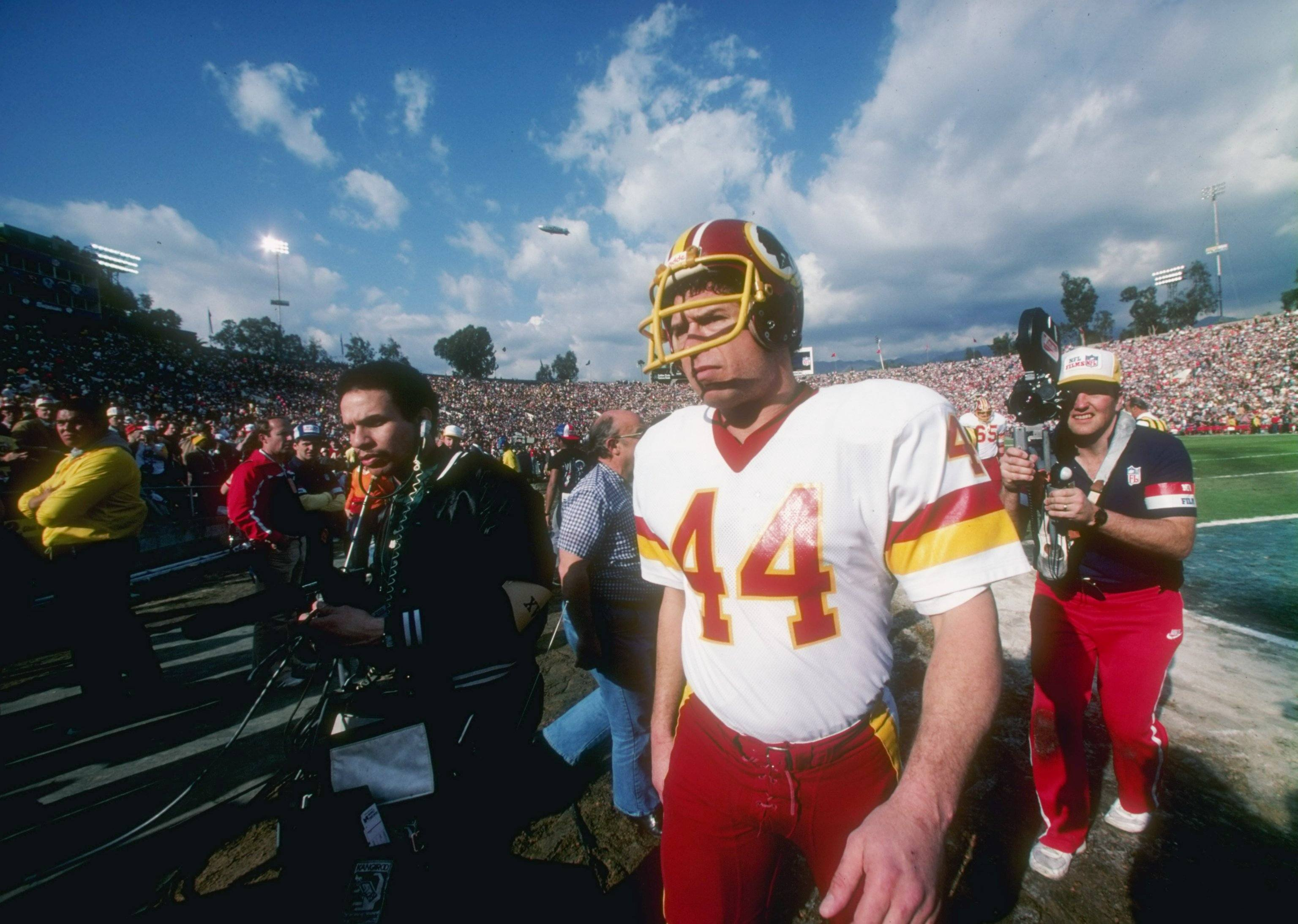 Running back John Riggins of the Washington Redskins looks on during the Super Bowl XVII against the Miami Dolphins.