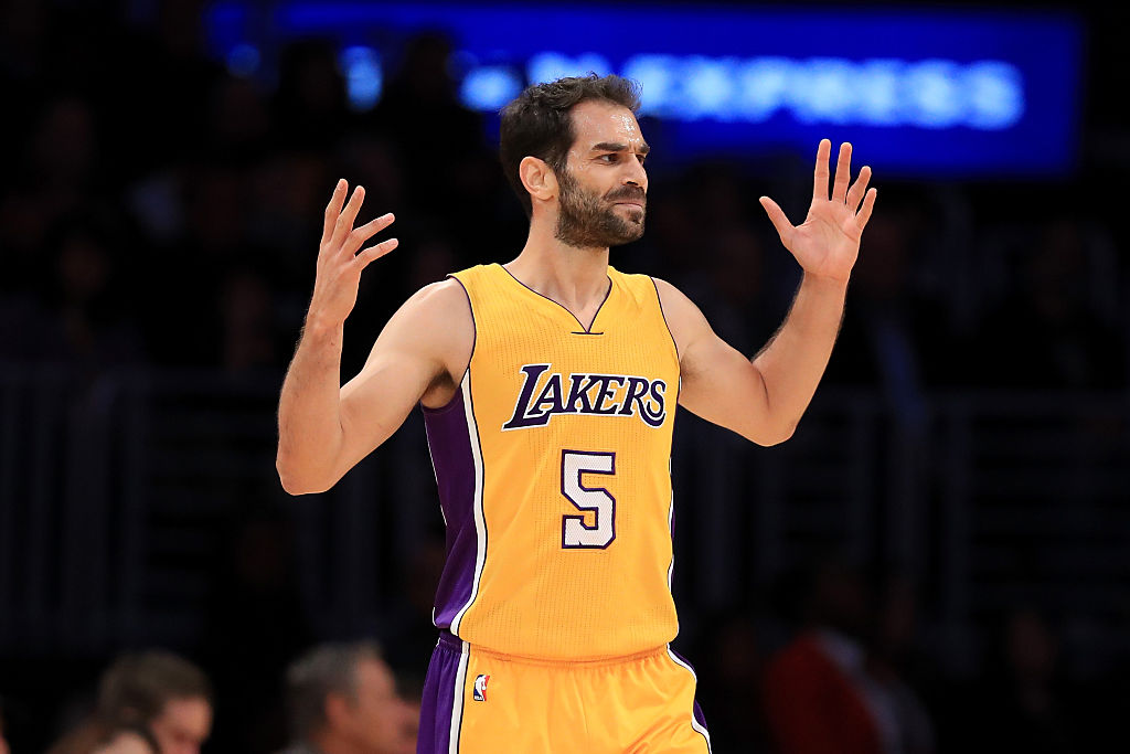 Jose Calderon #5 of the Los Angeles Lakers