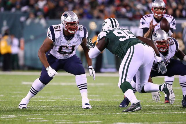 Marcus Cannon faces off against a New York Jet.