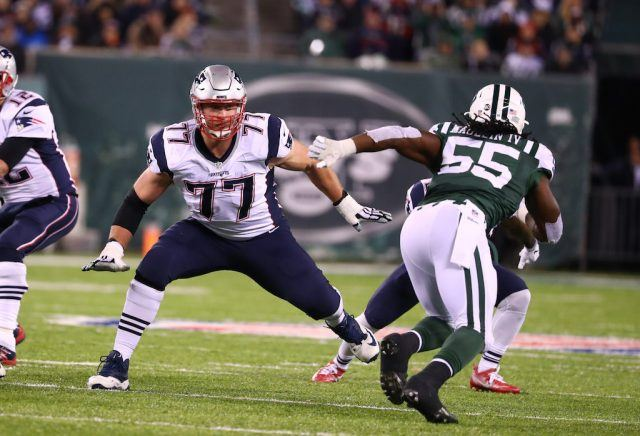 Nate Solder defends a New York Jet.