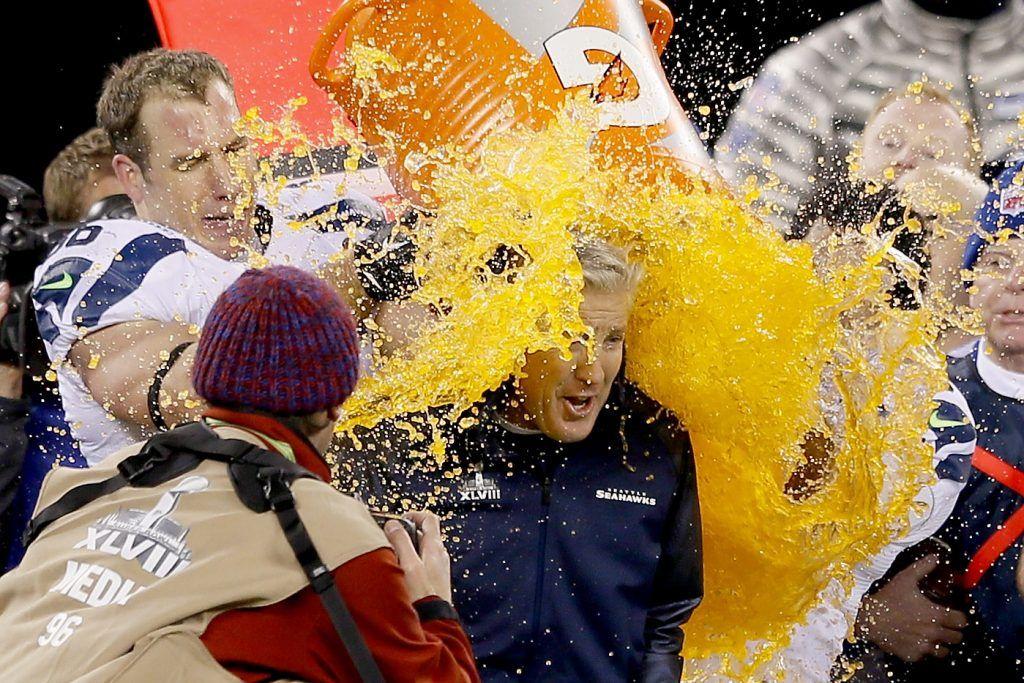 The Seahawks gave Pete Carroll an orange Gatorade shower.