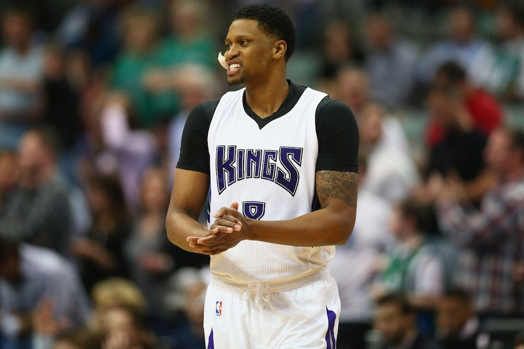 Rudy Gay claps his hands.