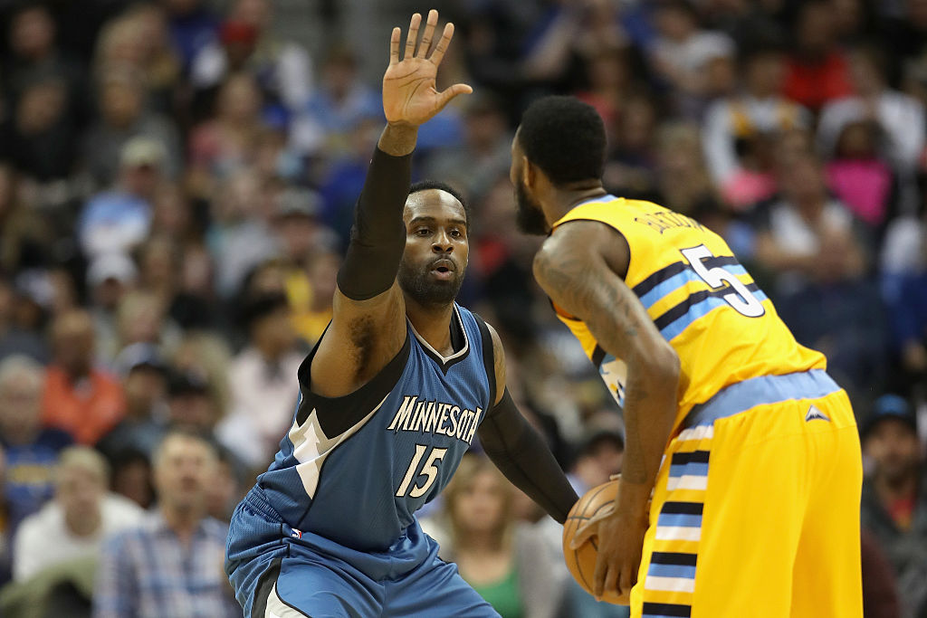 Shabazz Muhammad of the Minnesota Timberwolves looks to pass the ball.