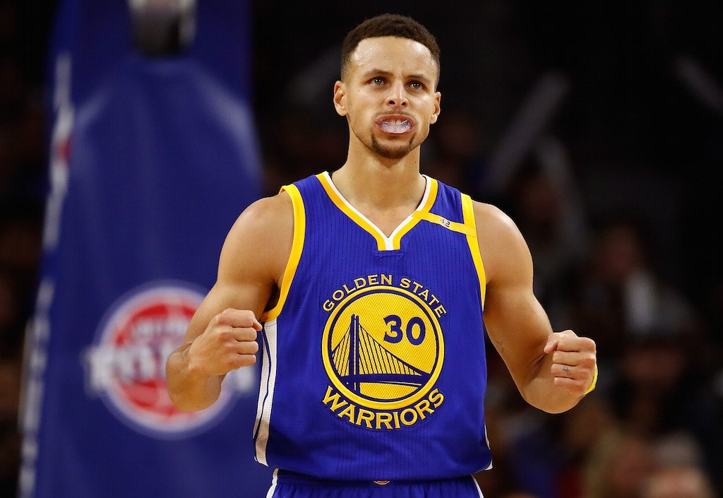 Stephen Curry #30 of the Golden State Warriors reacts to a second half play.
