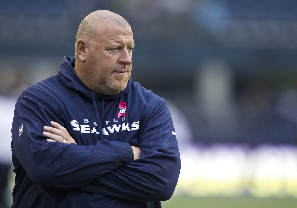 Seattle Seahawks assistant head coach and offensive line coach Tom Cable stands on the sidelines before a game