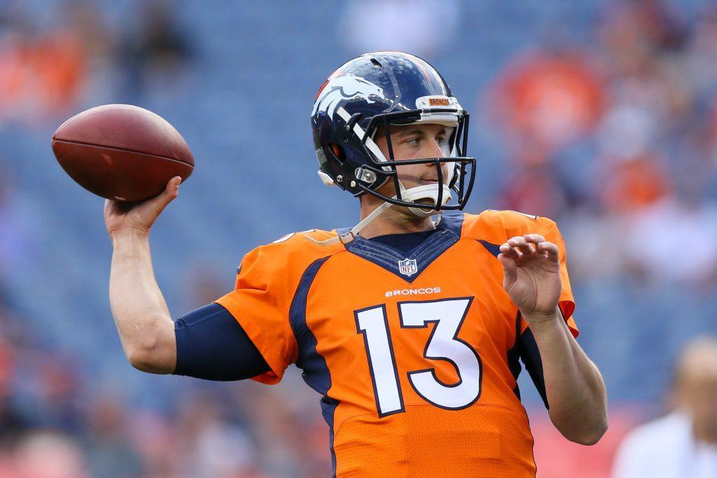 Quarterback Trevor Siemian #13 of the Denver Broncos warms up before a game.