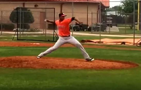 Albert Abreu pitching from the mound