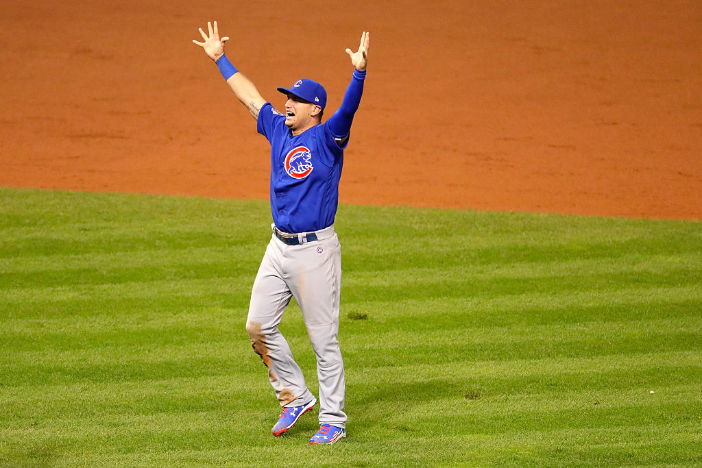 Albert Almora Jr. of the Chicago Cubs celebrates after defeating the Cleveland Indians 8-7 in Game Seven of the 2016 World Series
