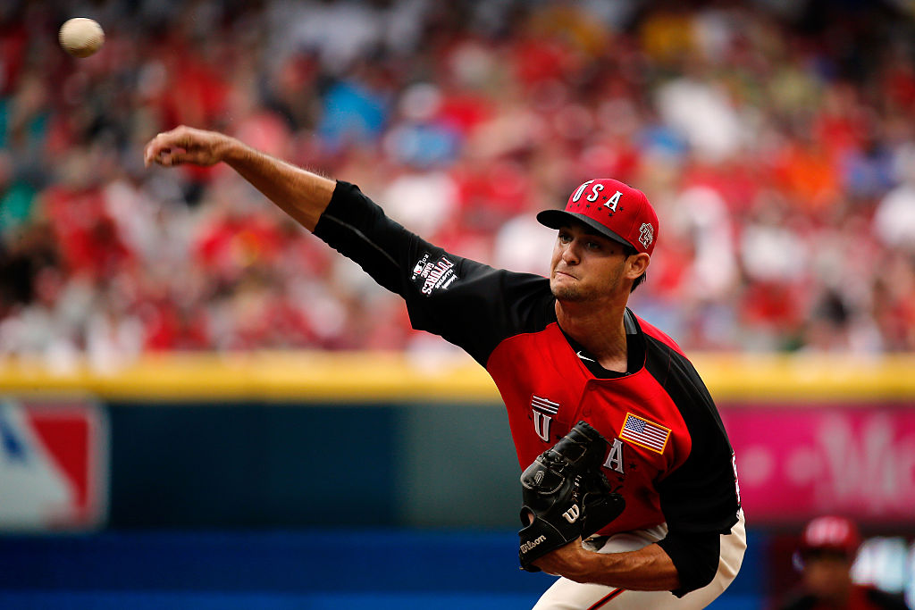 Tyler Beede of the U.S. Team throws a pitch against the World Team during the SiriusXM All-Star Futures Game