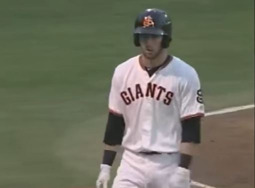 Steven Duggar walks back to the dugout after hitting a home run