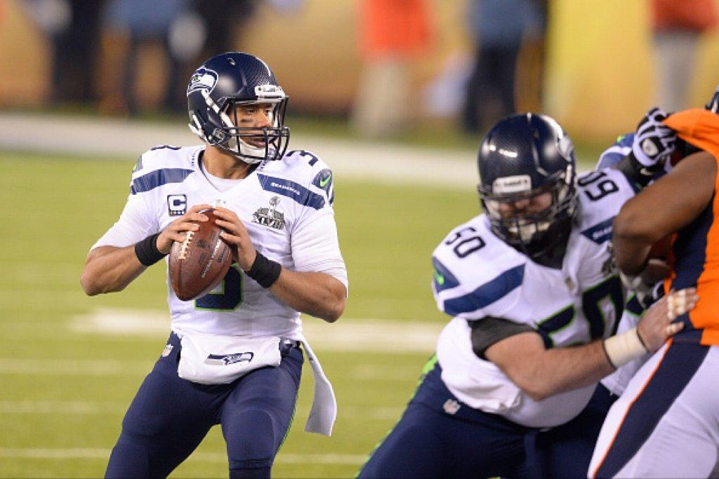 Seattle Seahawks quarterback Russell Wilson drops back to pass during Super Bowl XLVIII.