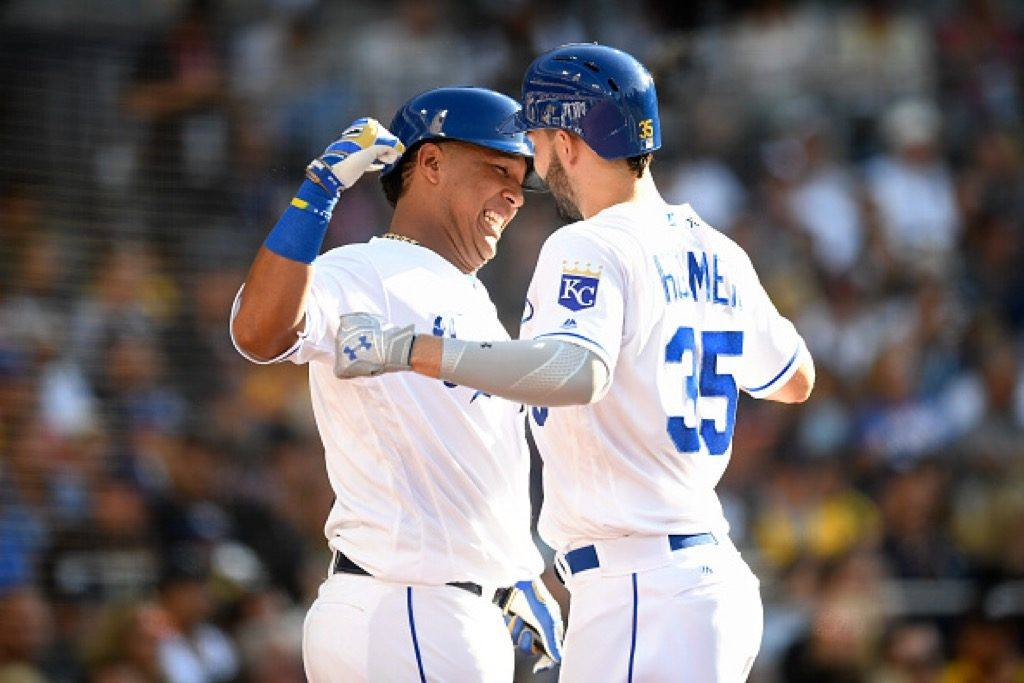 Eric Hosmer (R) of the Kansas City Royals is congratulated by Salvador Perez of the Kansas City Royals after hitting a home run in the 87th Annual MLB All-Star Game.