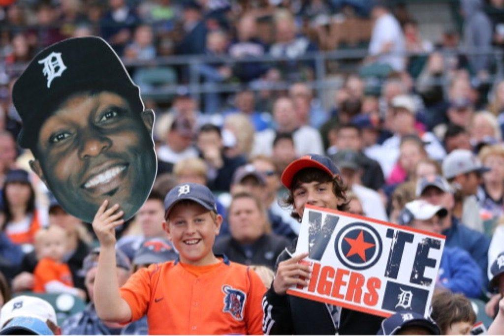 Detroit Tigers fans show their All-Star Game voting support for Austin Jackson.