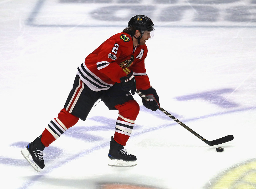Duncan Keith of the Chicago Blackhawks advances the puck against the Vancouver Canucks.