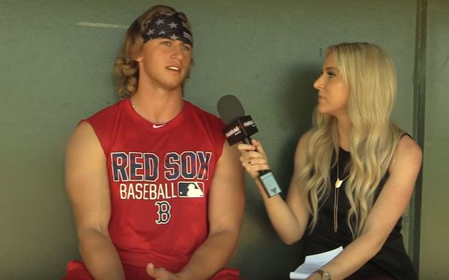 Michael Kopech chats with a reporter.
