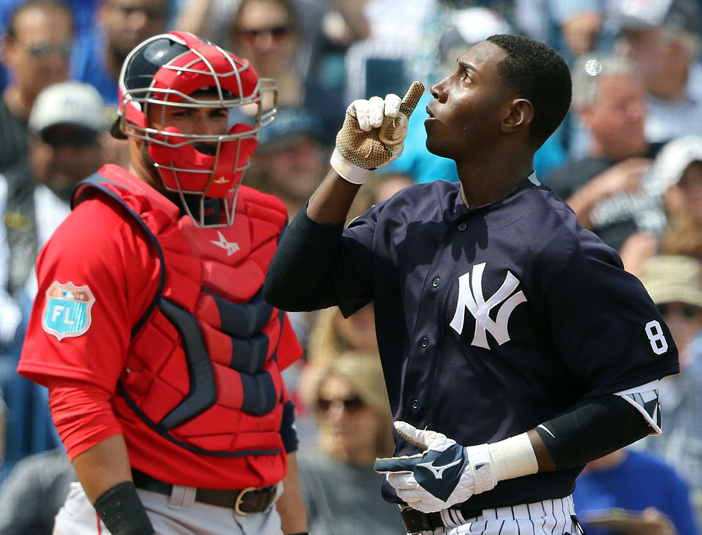 Jorge Mateo of the New York Yankees reacts after hitting a solo home run in the third inning during the game against the Boston Red Sox