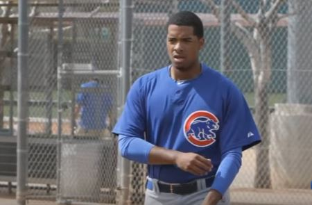 Duane Underwood in his Chicago Cubs uniform.