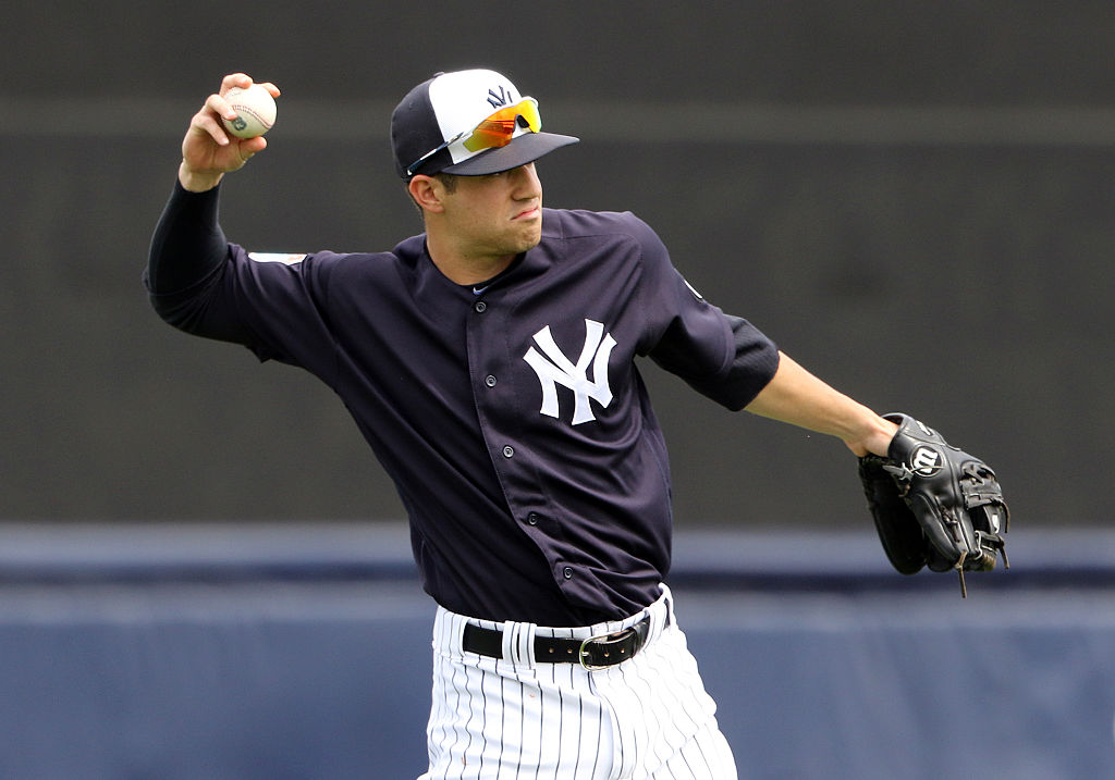 Tyler Wade of the New York Yankees throws the ball during a game