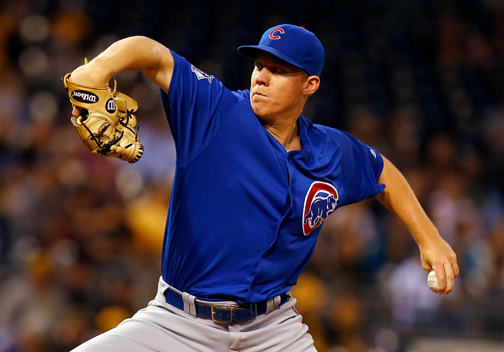Rob Zastryzny of the Chicago Cubs pitches in the first inning during the game against the Pittsburgh Pirates