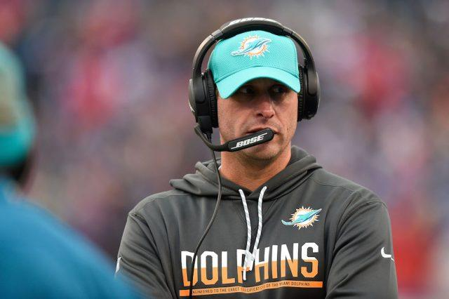 Head coach Adam Gase of the Miami Dolphins works the sidelines.