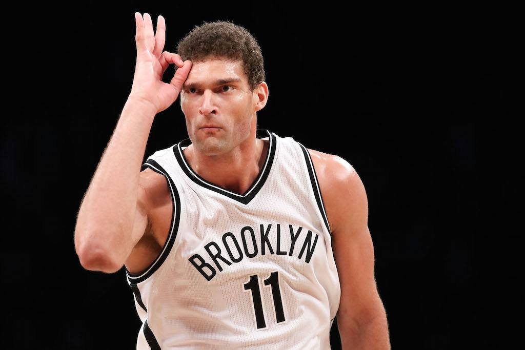 Brook Lopez celebrates hitting a shot.