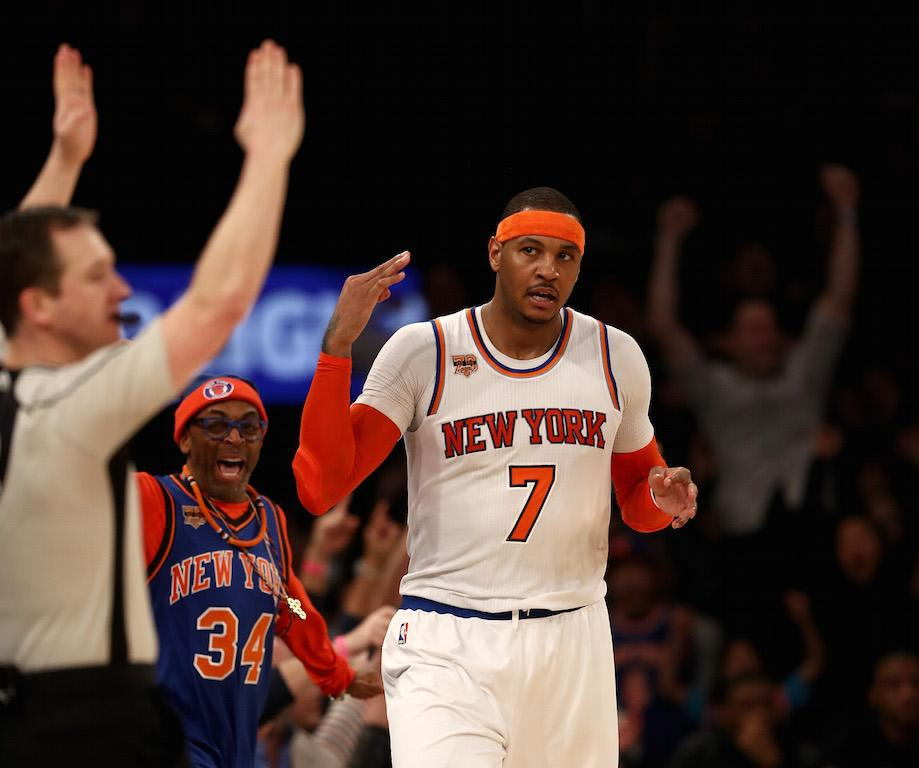 Carmelo Anthony celebrates a win.