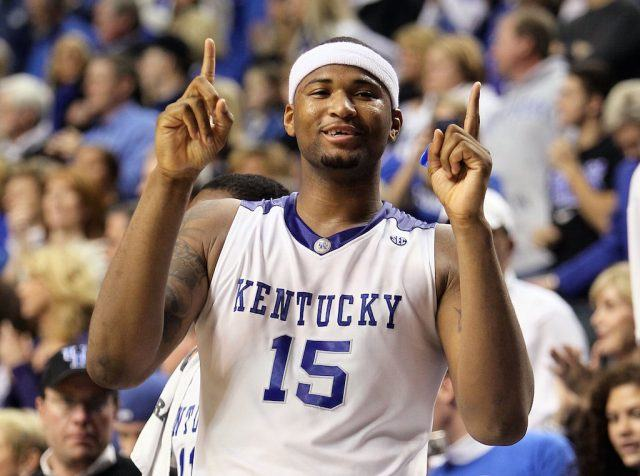 DeMarcus Cousins points his fingers, indicating that Kentucky is No. 1.