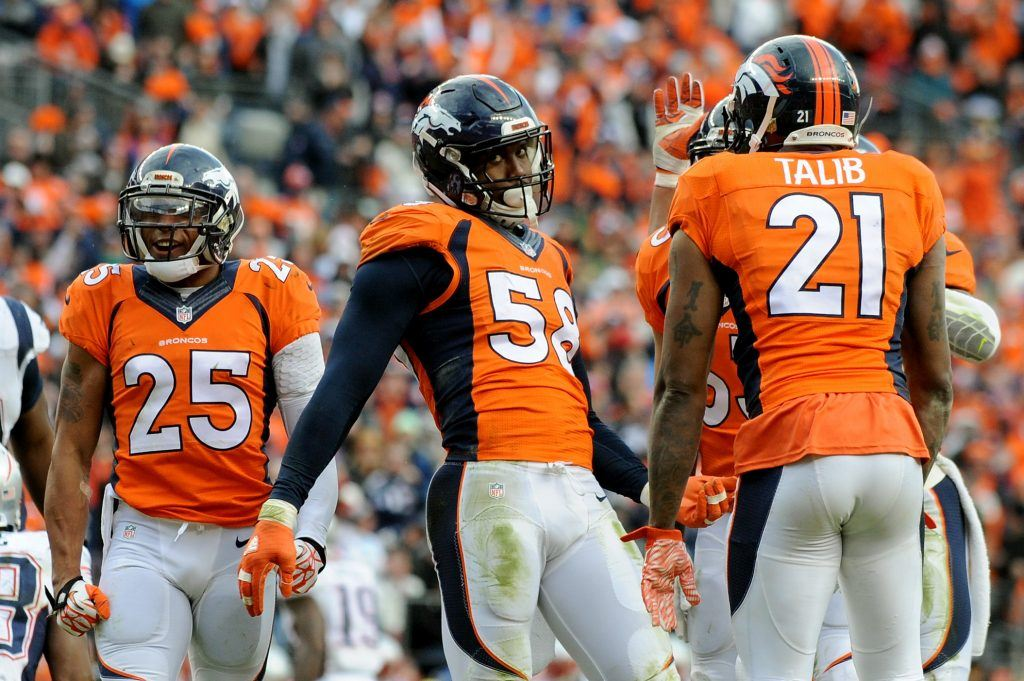 The Denver Broncos celebrates a touchdown.