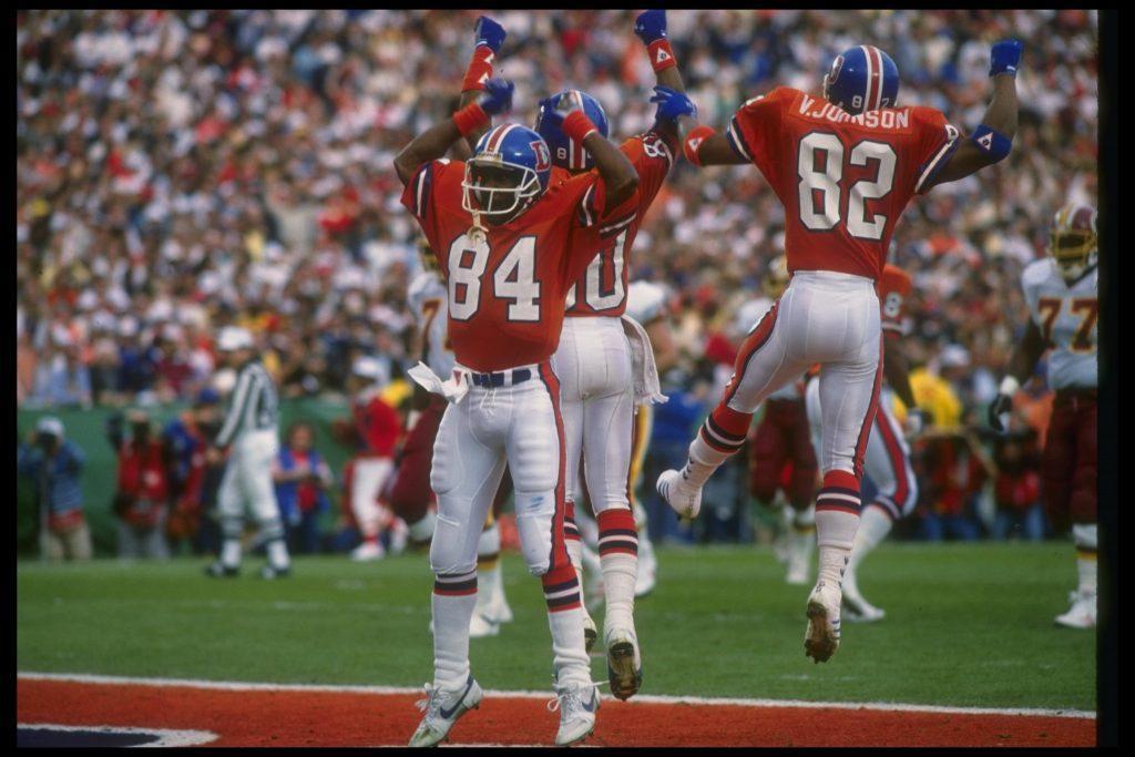 The Broncos celebrating prematurely