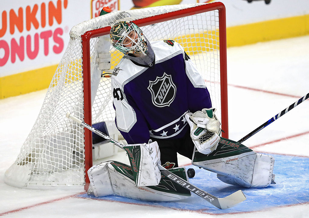 Devan Dubnyk of the Minnesota Wild reacts after allowing a goal.